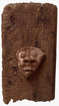 Maske, Holz, Keramik, Skulptur