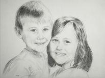 Kinder, Zeichnung, Gesicht, Bleistiftzeichnung