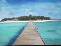 Acrylmalerei, Strand, Landschaft, Südsee