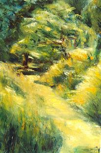 Malerei, Abstrakt, Waldweg, Landschaft