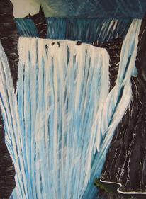 Wasserfall, Malerei, Surreal, Acrylmalerei
