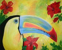 Vogel, Paradies, Hibiskus, Blüte