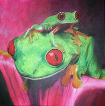 Tiere, Grün, Tierportrait, Rotaugenfrosch