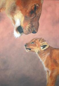 Löwin, Afrika, Löwenjunges, Malerei