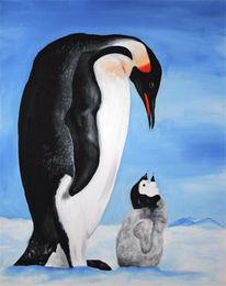 Malerei, Pinguin, Tiere, Fisch