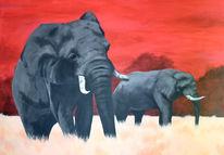 Elefant, Tiere, Malerei, Afrika