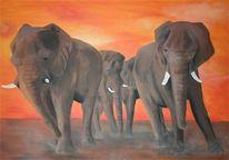 Afrika, Tierportrait, Malerei, Tiere