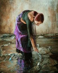 Junge frau, Reflexion, Spielenm lila, Hände