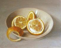 Stillleben, Ölmalerei, Obst, Zitrone