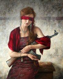Fotorealismus, Rot, Kalashnikow, Frau