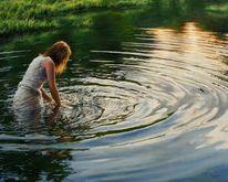 Gras, Wasser, Hyperrealismus, Frau