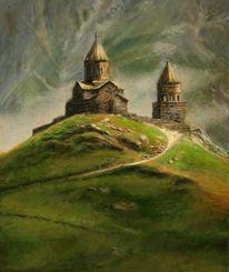 Kloster, Kirche, Georgien, Ölmalerei