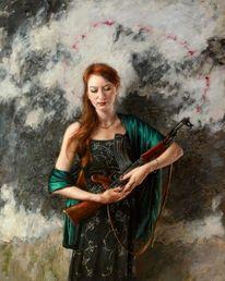 Gewehr, Frau, Mauer, Fotorealismus