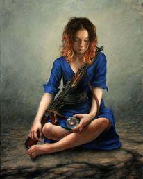 Kleid, Gewehr, Frau, Fotorealismus