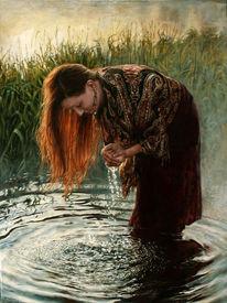 Junge frau, Reflexion, Welle, Wasser