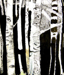 Skizze, Grafik, Birkenwald
