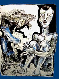 Surreal, Zeichnung, Zeichnungen, Frosch