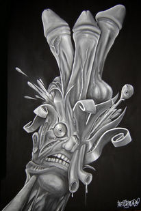 Malerei, Acrylmalerei, Schwarz, Surreal