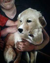 Ölmalerei, Figurativ, Portrait, Hund