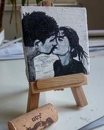 Miniatur, Ölmalerei, Lovers, Hosentaschestimmeder