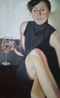 Portrait, Weiblich, Sitzen, Figurativ