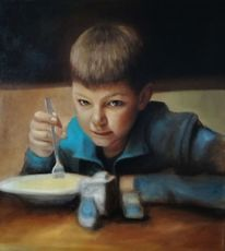 Portrait, Junge, Figurativ, Realismus