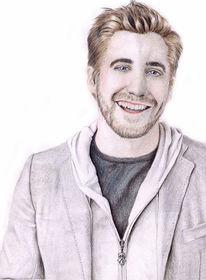 Buntstiftzeichnung, Mann, Portrait, Gyllenhaal