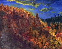 Wald, Burg, Herbst, Malerei