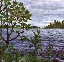 Hochwasser, Fluss, Malerei