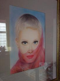 Blau, Schleier, Portrait, Malerei