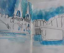 Rhein, Dom, Aquarell,