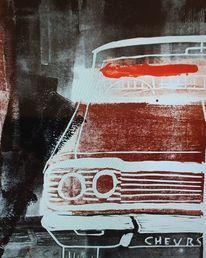 Linoldruck, Oldtimer, Auto, Chevrolet