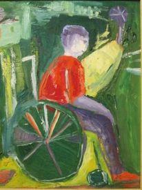 Behinderte, Kind, Rollstuhl, Malerei