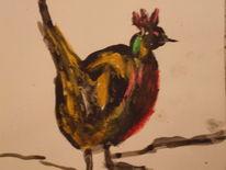 Vogel tusche pastell, Zeichnungen, Vogel