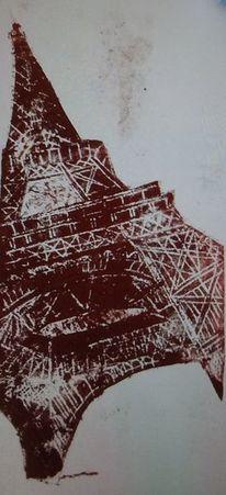 Eiffelturm, Paris, Tetrapackdruck, Druckgrafik