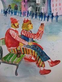 Menschen, Karneval, Eigelstein, Wasserfarben