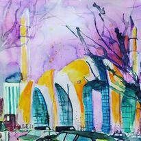 Wasserfarben, Köln, Moschee, Mischtechnik