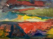 Gedanken, Mischtechnik, Landschaft, Malerei