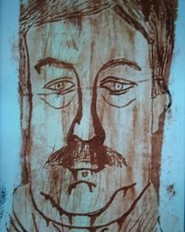 Selbstportrait, Tetrapackdruck, Ölmalerei, Druckgrafik