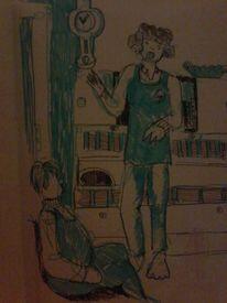 Singende mädchen, Gedankenbilder, Junge hört zu, Zeichnungen