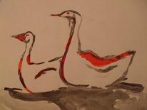 Vögel 3 tusche, Zeichnungen