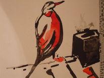 Tusche, Vogel, Rot schwarz, Malerei