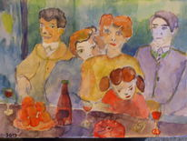 Zusammensein 1 wasserfarben, Malerei
