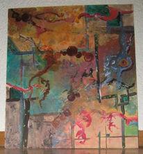 Bunt, Verschiedener, Weg, Acrylmalerei