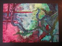 Blau, Rot, Postkarte, Grün