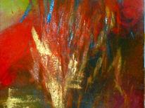 Abstrakt, Gold, Acrylmalerei, Rot schwarz