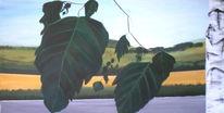 Birken, Malerei, Feld, Natur