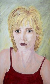 Unsicher, Portrait, Selbstportrait, Rot