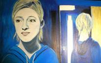 Spiegel, Frau, Licht, Blau