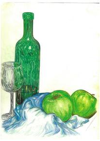 Stillleben, Apfel, Flasche, Zeichnung